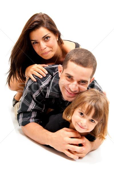Család gyönyörű családi portré fehér nő lány Stock fotó © vtupinamba