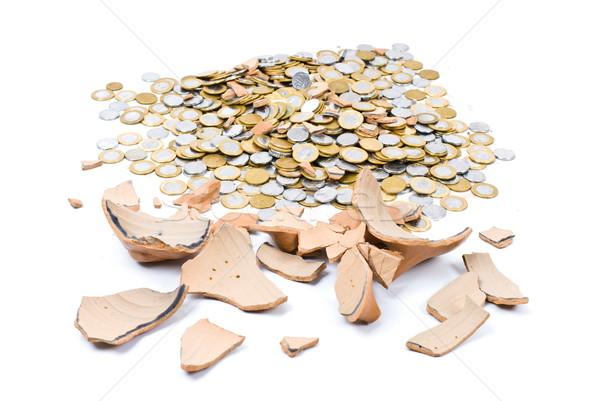 Roto cerdo moneda banco muchos monedas Foto stock © vtupinamba