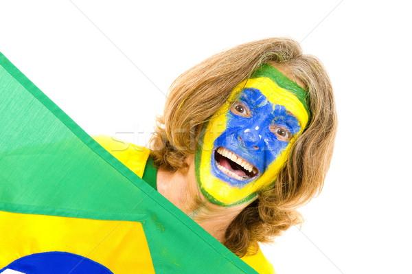 Deporte ventilador fútbol fútbol azul Foto stock © vtupinamba