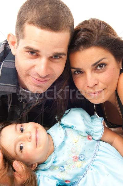 Család gyönyörű családi portré fehér lány mosoly Stock fotó © vtupinamba
