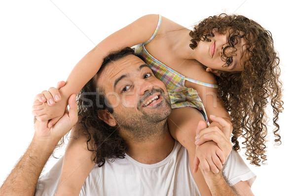 Barátok felnőtt férfi tart aranyos gyermek Stock fotó © vtupinamba