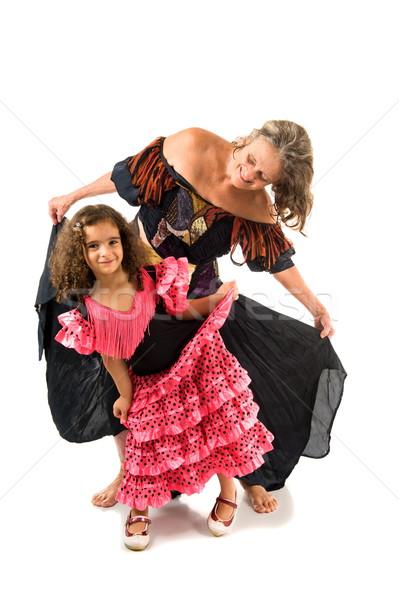 Szczęśliwy dziewcząt taniec piękna biały strony Zdjęcia stock © vtupinamba