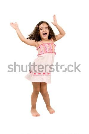 Nina baile niña feliz las manos en alto sonrisa danza Foto stock © vtupinamba