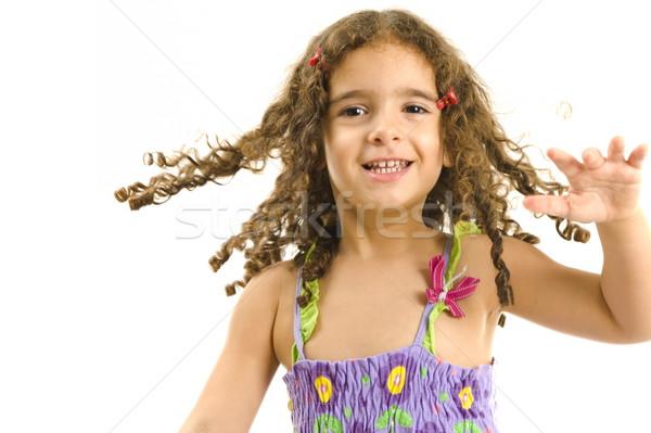 Heureux enfant portrait jouer fille main Photo stock © vtupinamba