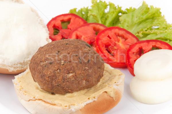 Hamburguesa delicioso pan carne hortalizas Foto stock © vtupinamba