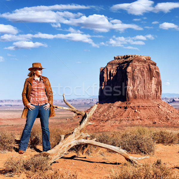 cowgirl at Monument Valley Stock photo © vwalakte