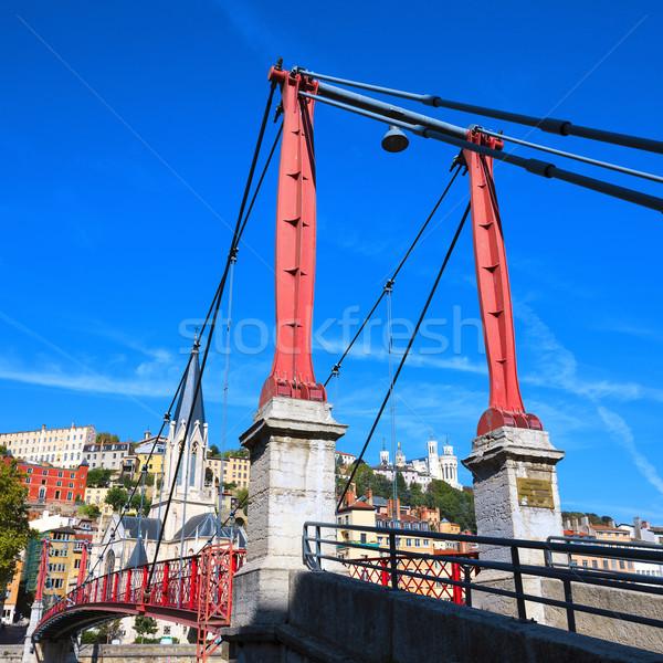 Lyon cidade vermelho passarela água edifício Foto stock © vwalakte