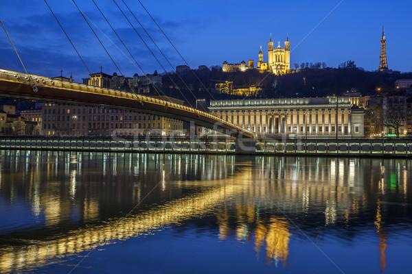 Lyon noite belo ver rio França Foto stock © vwalakte