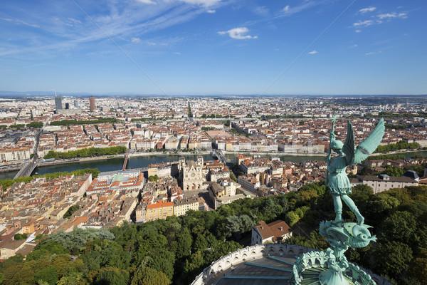 Kilátás Lyon felső hölgy fa város Stock fotó © vwalakte
