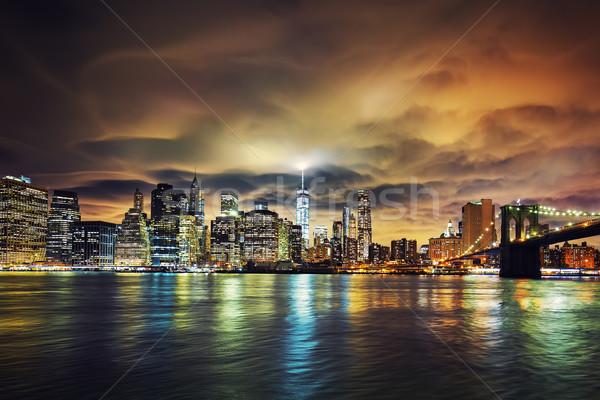 Foto d'archivio: View · Manhattan · tramonto · New · York · City · costruzione · blu