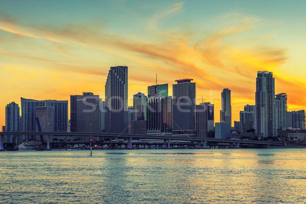 Város Miami Florida naplemente üzlet lakóövezeti Stock fotó © vwalakte