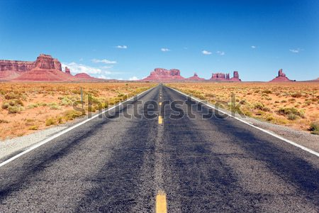 Desert highway leading into Monument Valley Stock photo © vwalakte