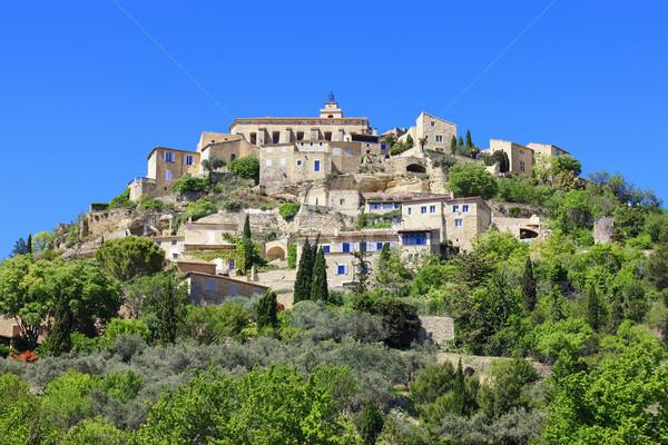 Középkori falu déli Franciaország égbolt tájkép Stock fotó © vwalakte