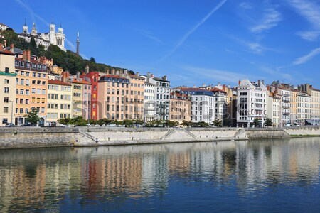 Lyon cityscape from Saone river Stock photo © vwalakte