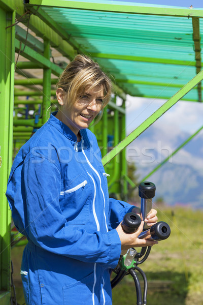 dairymaid at automatic milking system Stock photo © vwalakte