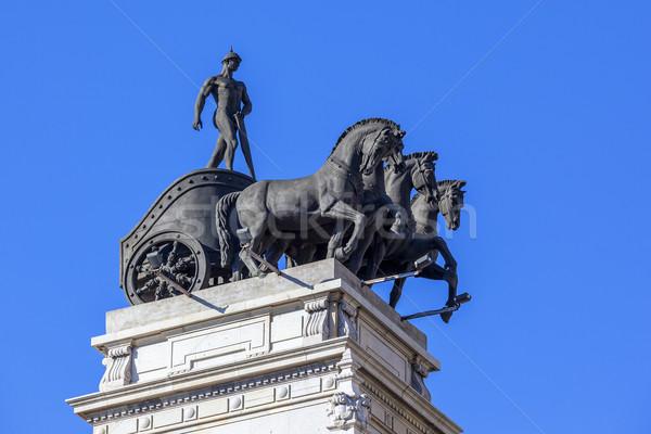 Мадрид ориентир древних лошади статуя Испания Сток-фото © vwalakte