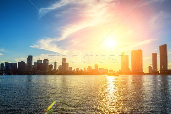 Майами Флорида закат красочный бизнеса Сток-фото © vwalakte
