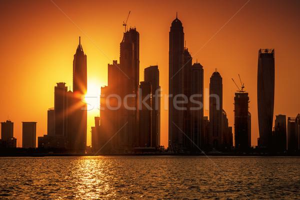 Vue Dubaï sunrise bureau maison ville Photo stock © vwalakte