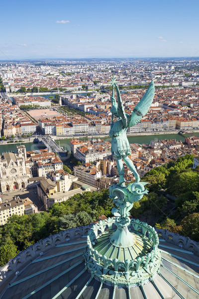 Függőleges kilátás Lyon felső hölgy Franciaország Stock fotó © vwalakte