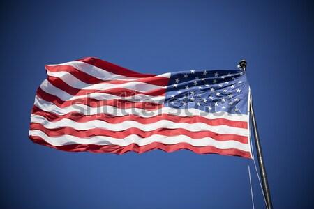Amerikai zászló kék ég USA égbolt kék zászló Stock fotó © vwalakte
