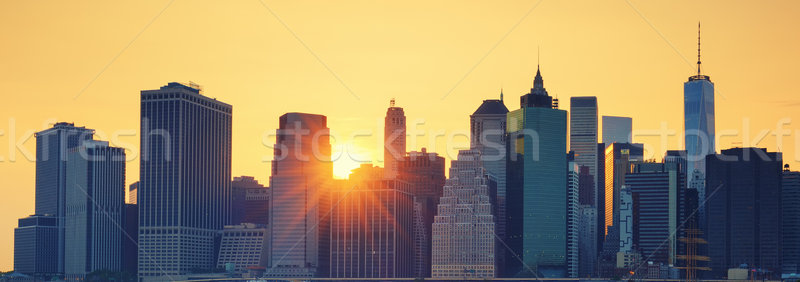 Stock fotó: Panorámakép · kilátás · New · York · Manhattan · naplemente · különleges