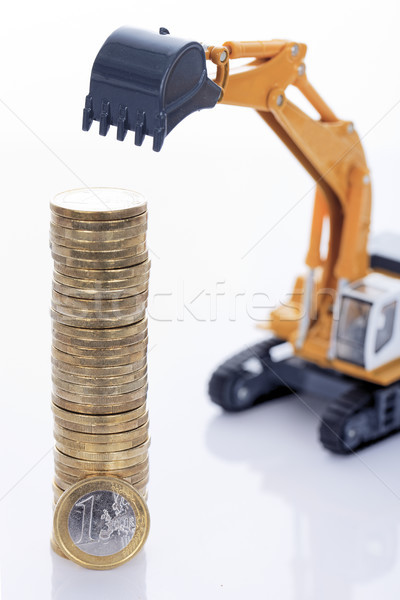 euro money coins and digger Stock photo © vwalakte