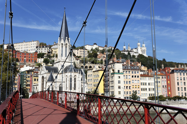 Lyon city with red footbridge Stock photo © vwalakte