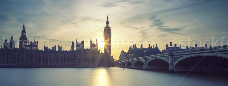 Panoramic view of Big Ben at sunset Stock photo © vwalakte