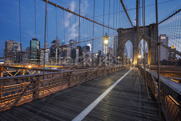 Brooklyn Bridge at sunrise Stock photo © vwalakte