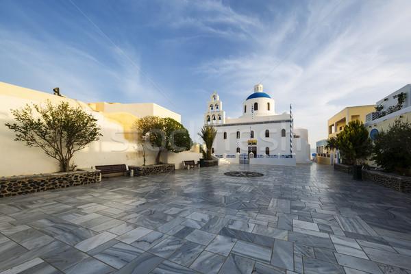 Principal branco azul ortodoxo igreja aldeia Foto stock © vwalakte