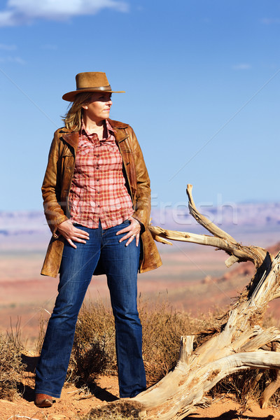cowgirl in the desert Stock photo © vwalakte