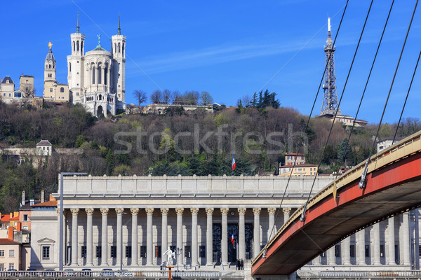 Famous view of Saone river and footbridge at Lyon Stock photo © vwalakte