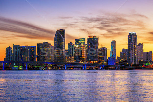 Famous cIty of Miami at sunset Stock photo © vwalakte