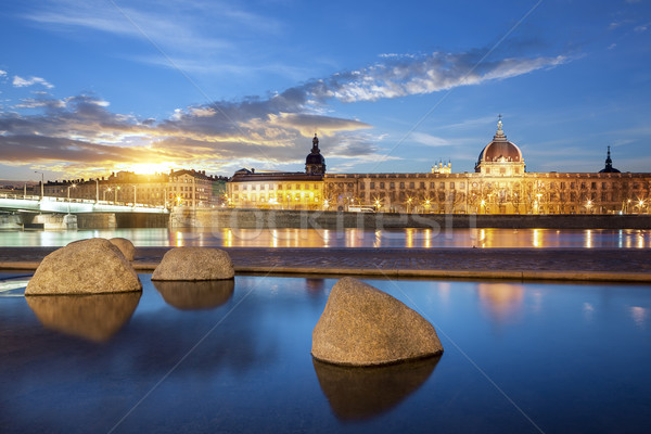 View from Rhone river in Lyon city at sunset Stock photo © vwalakte