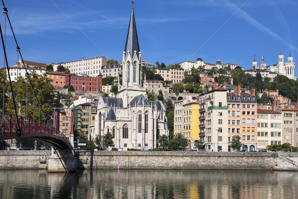 View of Lyon city with red footbridge Stock photo © vwalakte