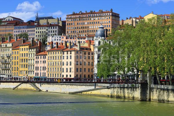 Kilátás Lyon város folyó Franciaország égbolt Stock fotó © vwalakte