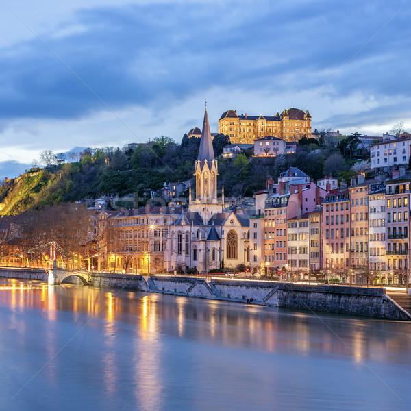 Kilátás folyó éjszaka Lyon Franciaország épület Stock fotó © vwalakte
