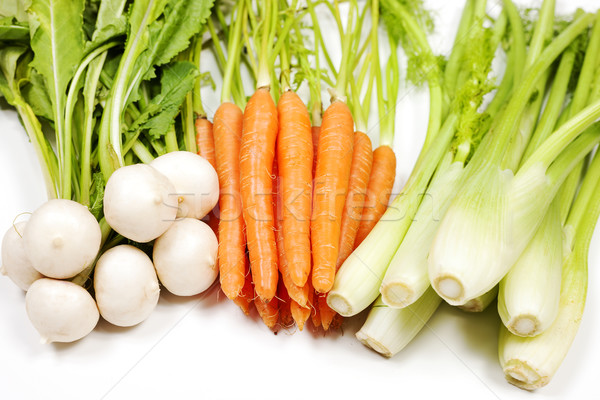 Turnip, carrot and celery from garden Stock photo © vwalakte