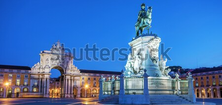 statue of King Joze I in evening illumination Stock photo © vwalakte