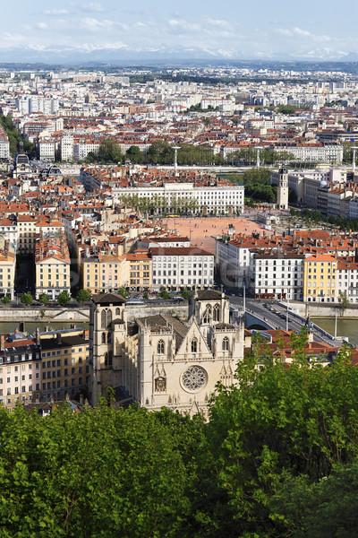 Lyon cidade verão casa igreja Foto stock © vwalakte