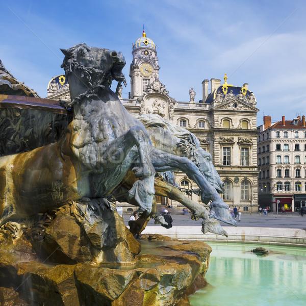 Famous Bartholdi Fountain in Lyon Stock photo © vwalakte