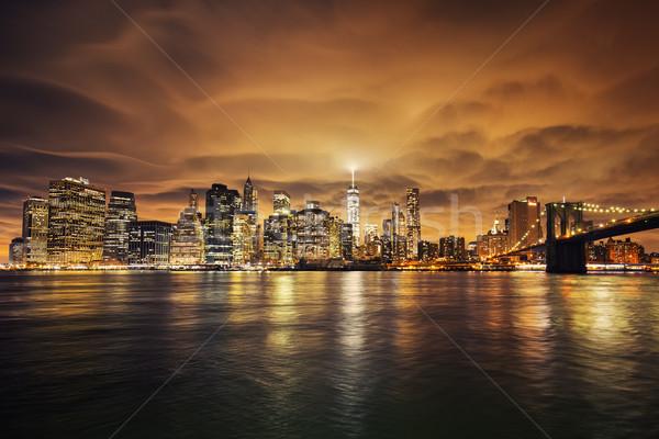Manhattan naplemente New York kilátás kék utazás Stock fotó © vwalakte