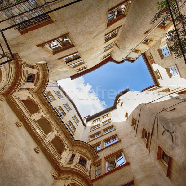 Régi épület Lyon város Franciaország épület eső Stock fotó © vwalakte