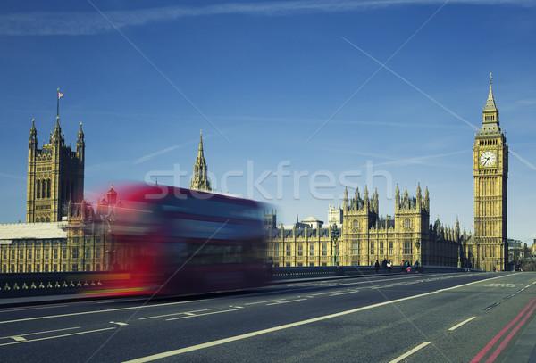 Bus brug Big Ben klok reizen Stockfoto © vwalakte