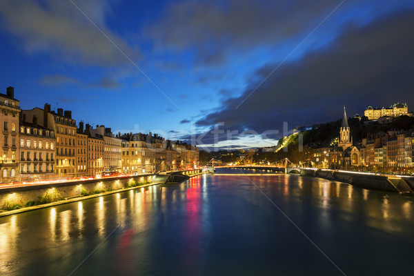 View of Saone river in Lyon city at evening Stock photo © vwalakte