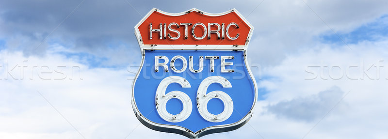 Panoramic view of famous route 66 sign Stock photo © vwalakte