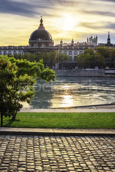 Lyon city at sunset with Rhone river Stock photo © vwalakte