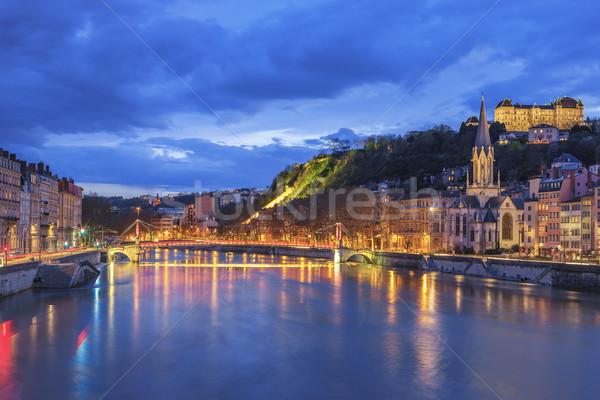 Famoso ver Lyon rio noite edifício Foto stock © vwalakte