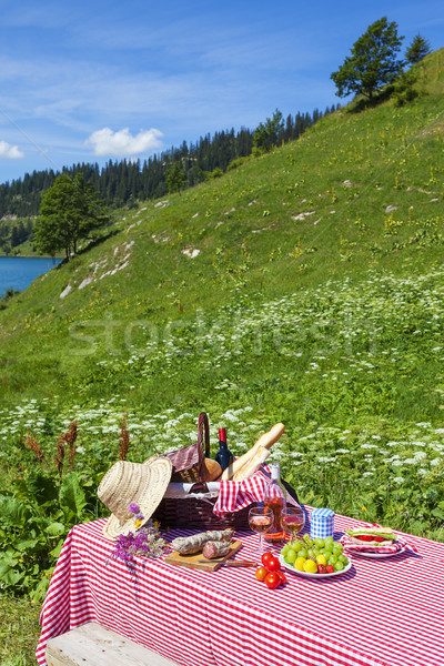 Picnic in french alps Stock photo © vwalakte