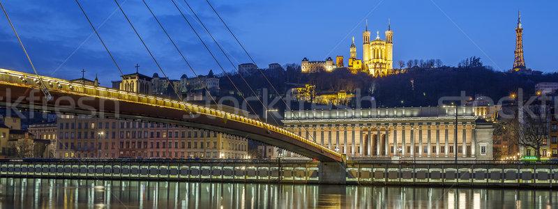 Сток-фото: панорамный · мнение · реке · Лион · ночь · Франция